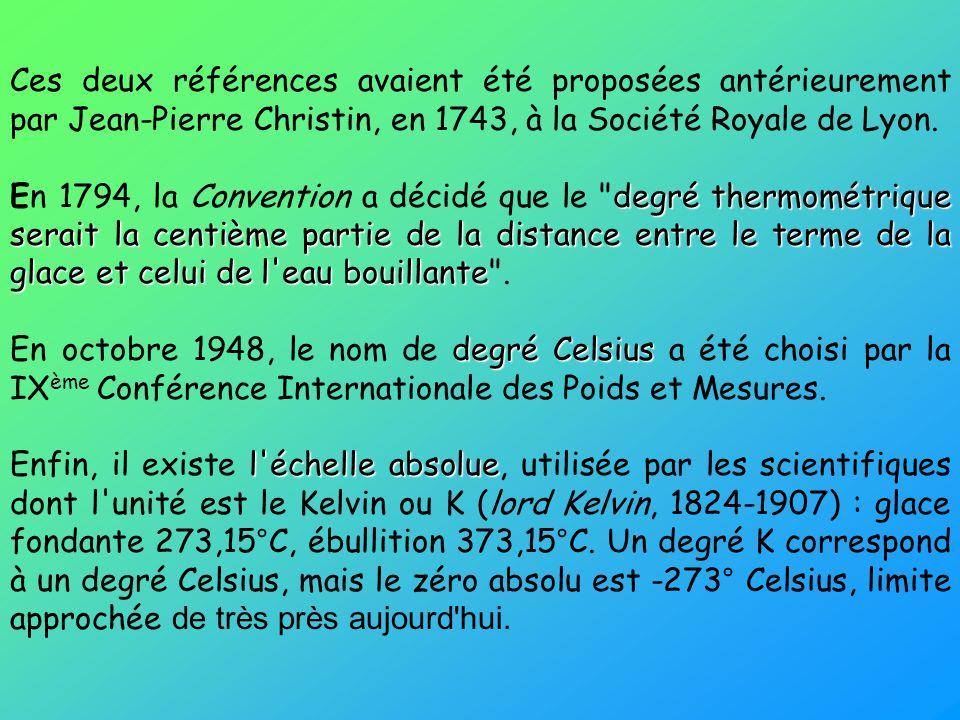 Ces deux références avaient été proposées antérieurement par Jean-Pierre Christin, en 1743, à la Société Royale de Lyon. degré thermométrique serait l