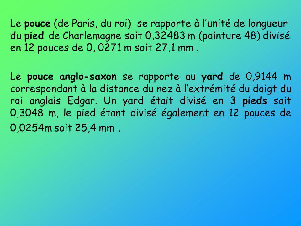 Le pouce (de Paris, du roi) se rapporte à lunité de longueur du pied de Charlemagne soit 0,32483 m (pointure 48) divisé en 12 pouces de 0, 0271 m soit 27,1 mm.