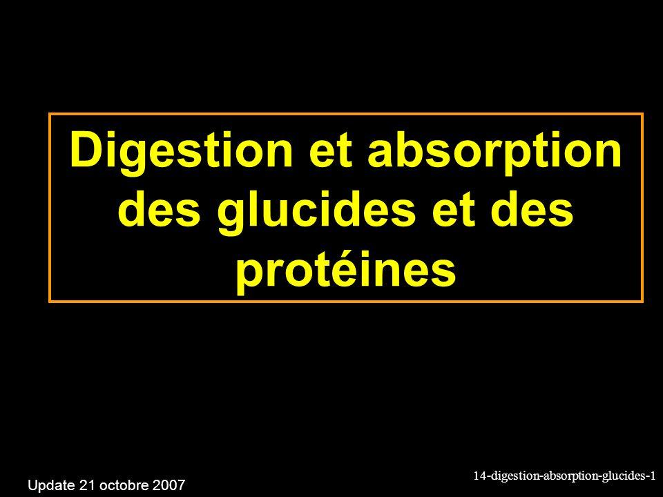 14-digestion-absorption-glucides-1 Digestion et absorption des glucides et des protéines Update 21 octobre 2007