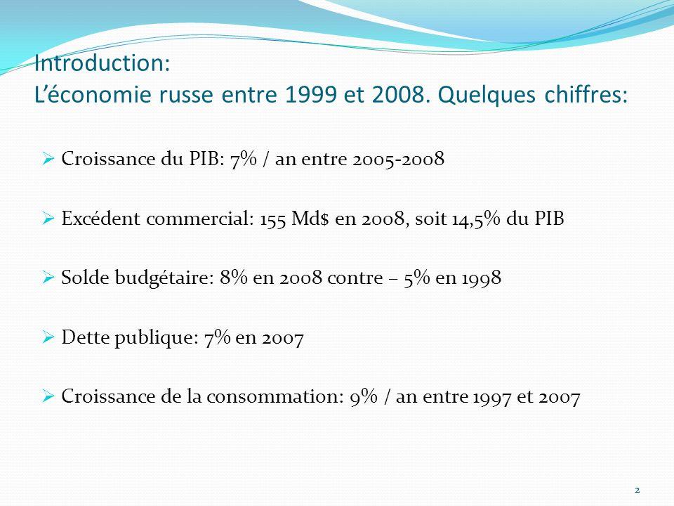 33 Plan: I-Une Economie Issue de la Transition A- Changement dans les Domaines de LAgriculture et de LIndustrie B- Les Réformes du Système Bancaire II-La Position Commerciale de la Russie A- Les Opérations Commerciales B- La Question Energétique