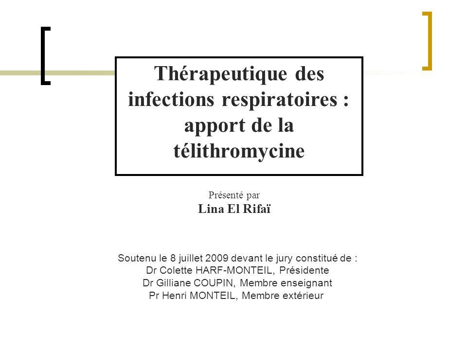 Thérapeutique des infections respiratoires : apport de la télithromycine Présenté par Lina El Rifaï Soutenu le 8 juillet 2009 devant le jury constitué