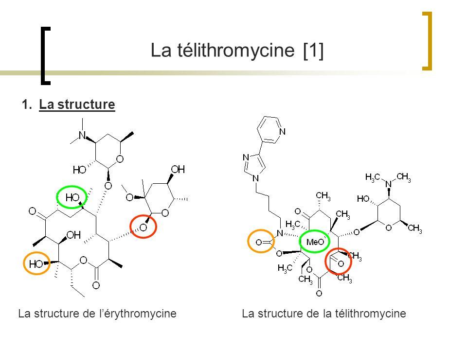 La télithromycine [1] La structure de lérythromycineLa structure de la télithromycine 1.La structure
