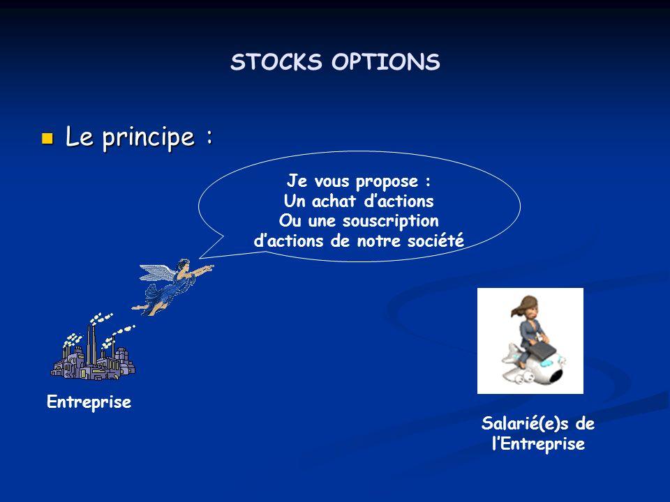 STOCKS OPTIONS Le principe : Le principe : Je vous propose : Un achat dactions Ou une souscription dactions de notre société Entreprise Salarié(e)s de
