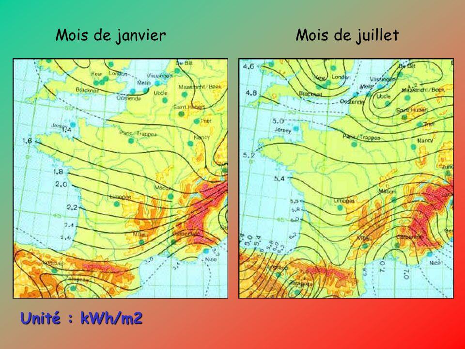 Mois de janvierMois de juillet Unité : kWh/m2