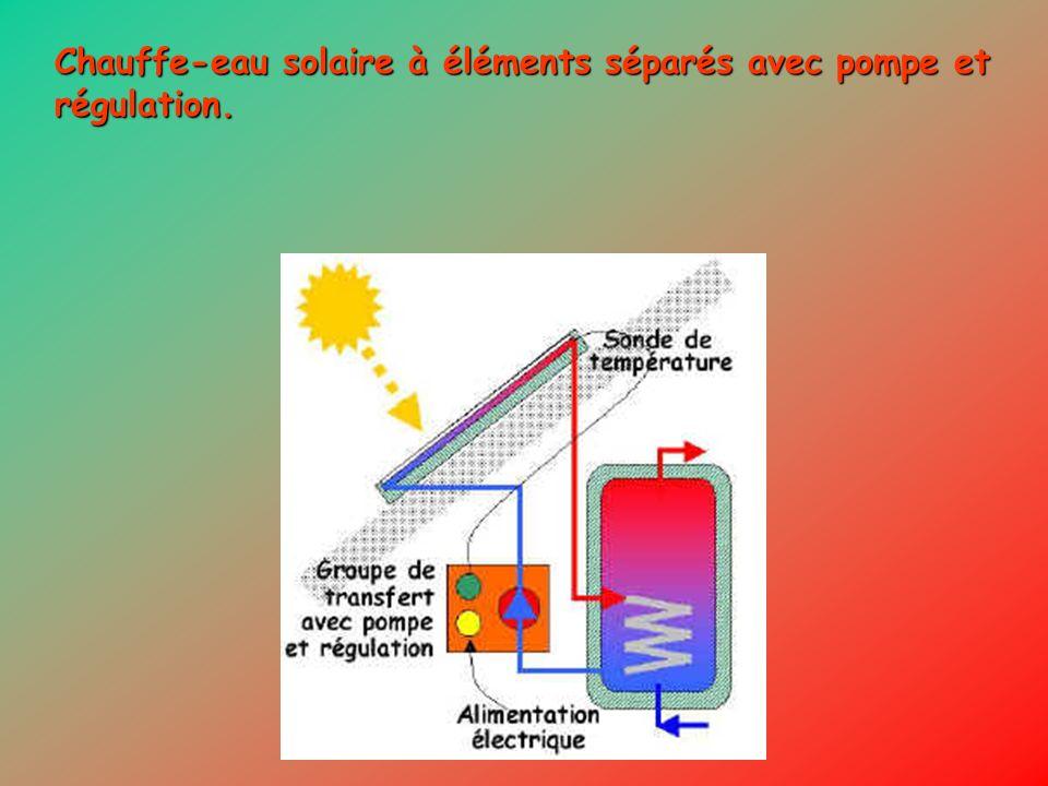 Chauffe-eau solaire à éléments séparés avec pompe et régulation.