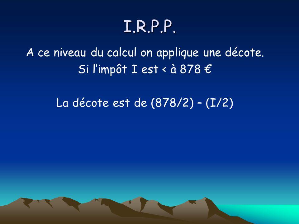 I.R.P.P. A ce niveau du calcul on applique une décote.
