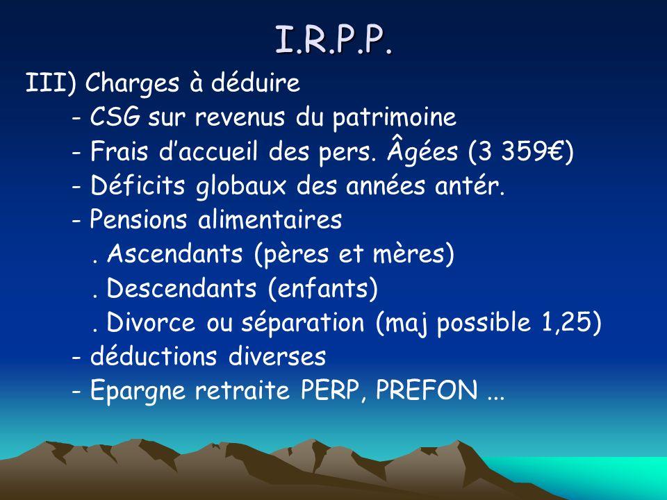 I.R.P.P. III) Charges à déduire - CSG sur revenus du patrimoine - Frais daccueil des pers.