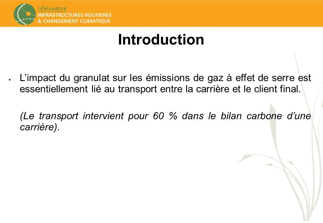 Introduction Limpact du granulat sur les émissions de gaz à effet de serre est essentiellement lié au transport entre la carrière et le client final.