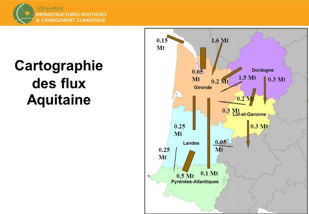 33 Cartographie des flux Aquitaine 0.1 Mt 0.5 Mt 0.25 Mt 0.05 Mt 0.3 Mt0.25 Mt 1.6 Mt 1.5 Mt 0.2 Mt 0.3 Mt 0.2 Mt 0.3 Mt 0.65 Mt 0.15 Mt