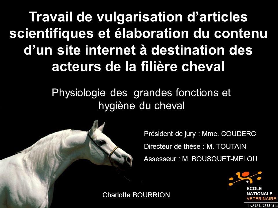 Travail de vulgarisation darticles scientifiques et élaboration du contenu dun site internet à destination des acteurs de la filière cheval Physiologi