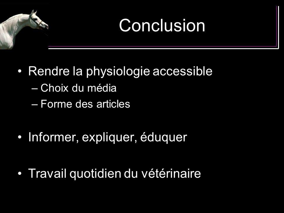 Conclusion Rendre la physiologie accessible –Choix du média –Forme des articles Informer, expliquer, éduquer Travail quotidien du vétérinaire