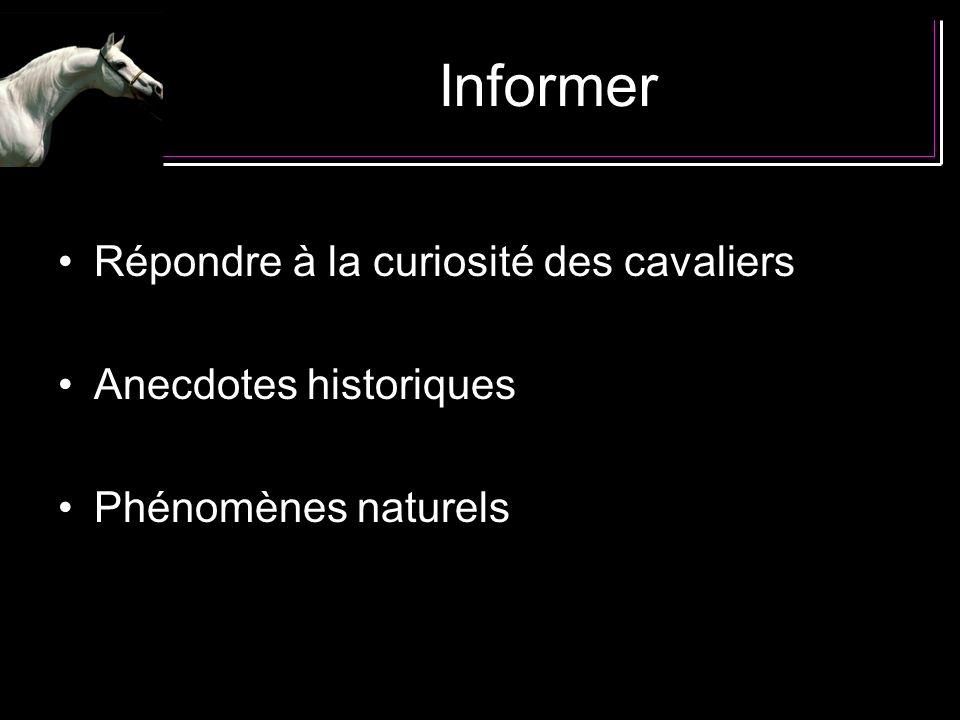 Informer Répondre à la curiosité des cavaliers Anecdotes historiques Phénomènes naturels