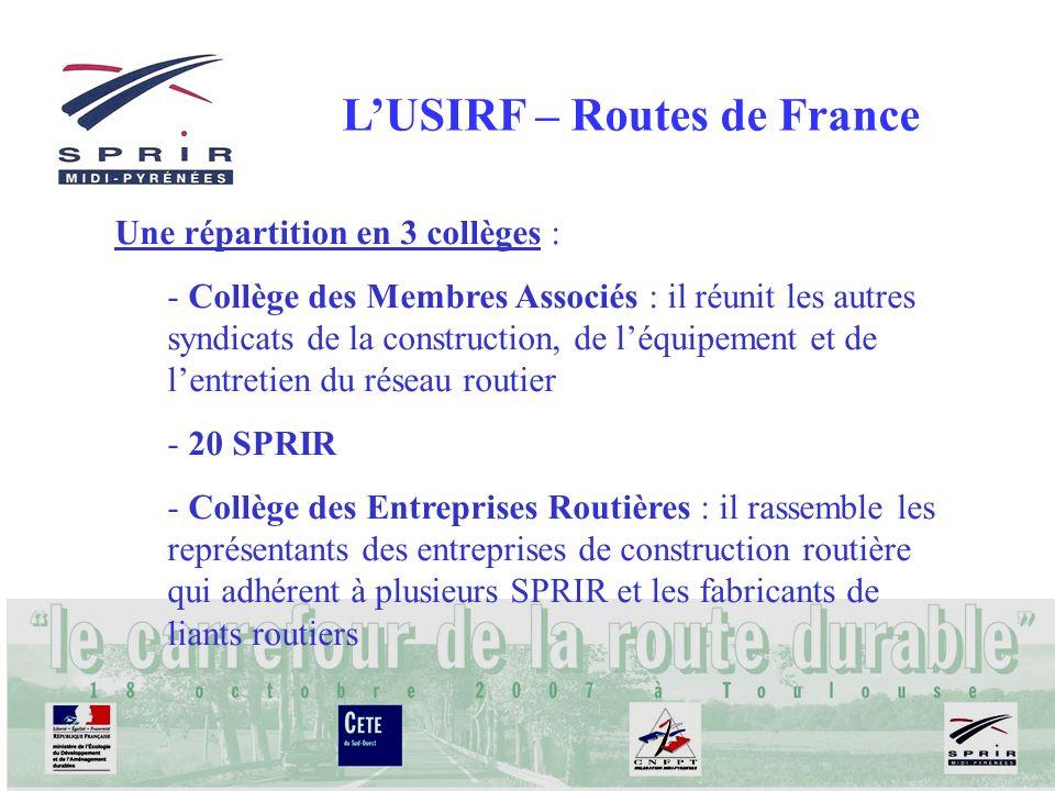 LUSIRF – Routes de France Une répartition en 3 collèges : - Collège des Membres Associés : il réunit les autres syndicats de la construction, de léqui