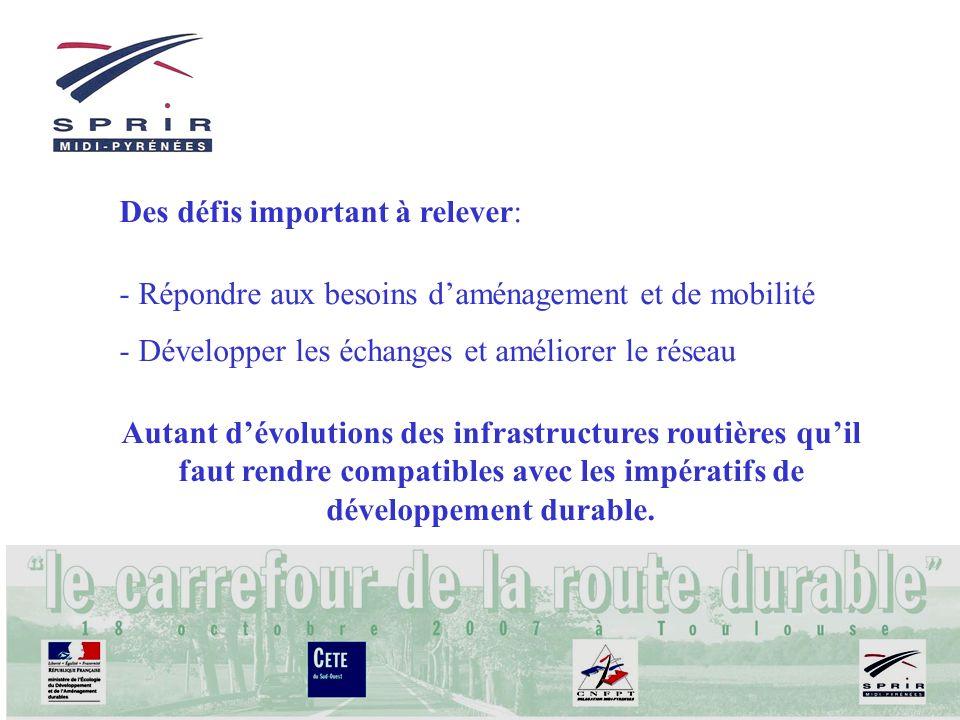 Des défis important à relever: - Répondre aux besoins daménagement et de mobilité - Développer les échanges et améliorer le réseau Autant dévolutions des infrastructures routières quil faut rendre compatibles avec les impératifs de développement durable.