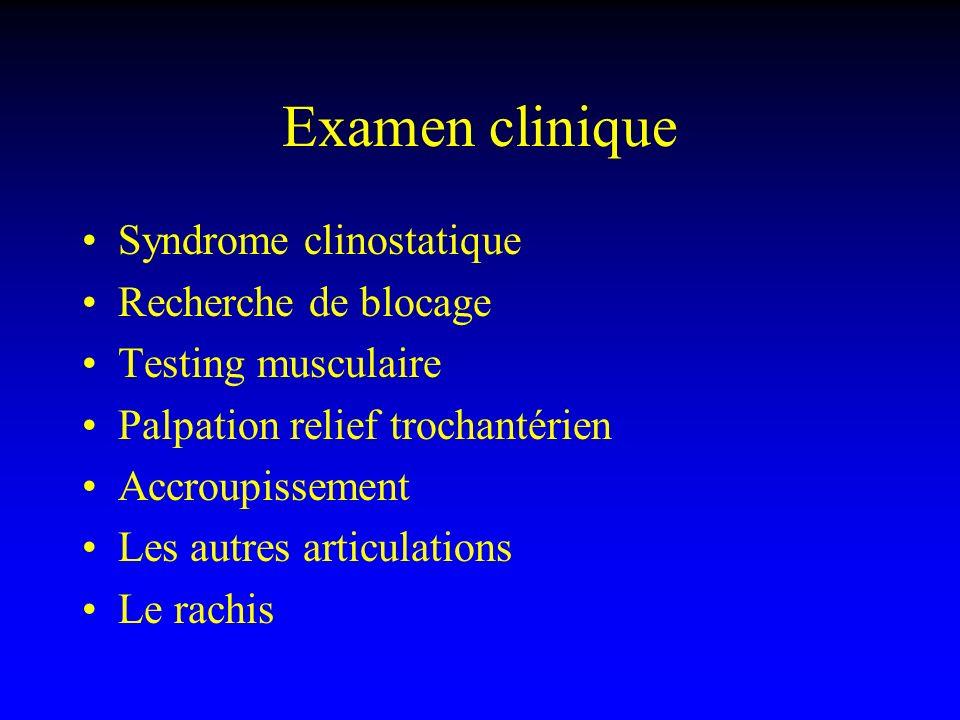 Examen clinique Syndrome clinostatique Recherche de blocage Testing musculaire Palpation relief trochantérien Accroupissement Les autres articulations