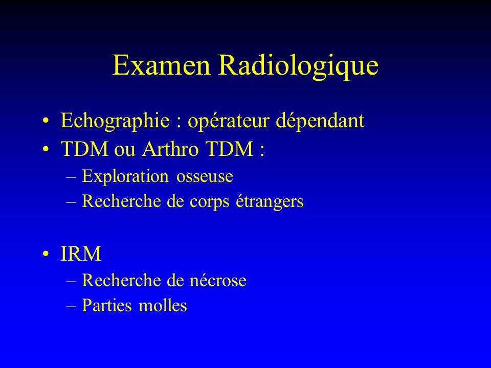 Examen Radiologique Echographie : opérateur dépendant TDM ou Arthro TDM : –Exploration osseuse –Recherche de corps étrangers IRM –Recherche de nécrose