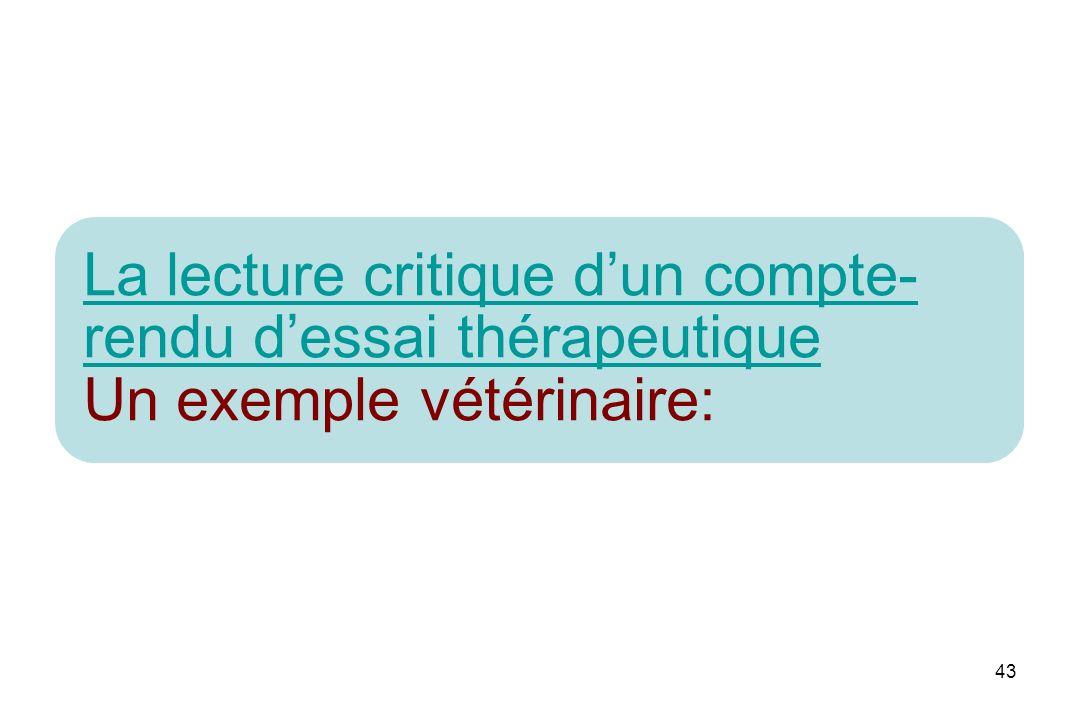 43 La lecture critique dun compte- rendu dessai thérapeutique La lecture critique dun compte- rendu dessai thérapeutique Un exemple vétérinaire: