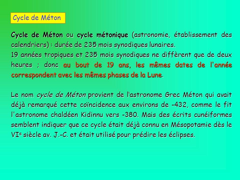 Cycle de Méton ou cycle métonique (astronomie, établissement des calendriers) : durée de 235 mois synodiques lunaires. 19 années tropiques et 235 mois