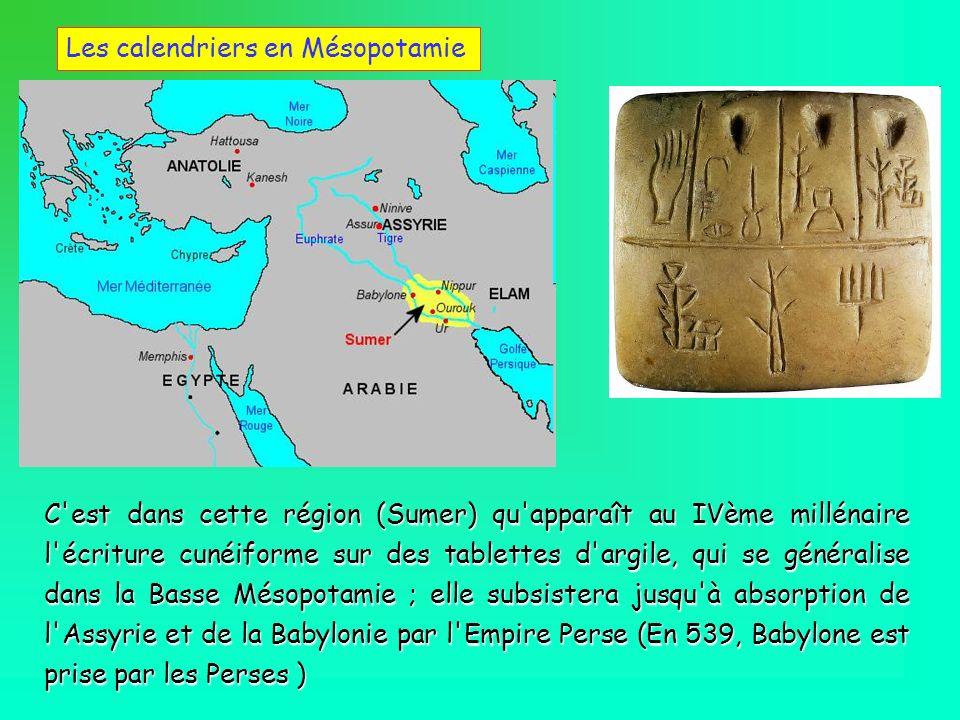 C'est dans cette région (Sumer) qu'apparaît au IVème millénaire l'écriture cunéiforme sur des tablettes d'argile, qui se généralise dans la Basse Méso