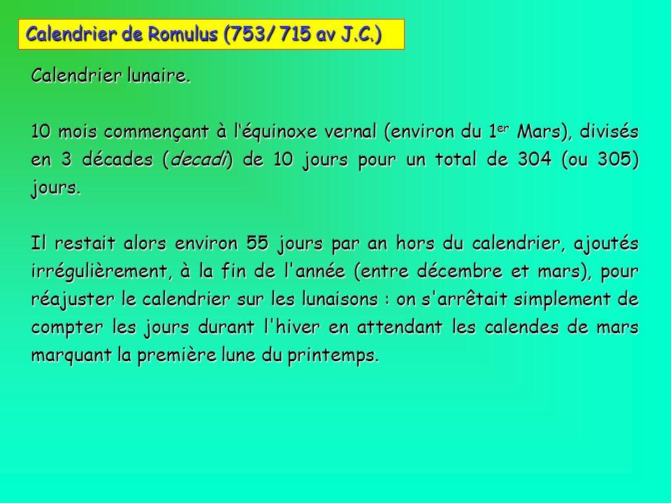 Calendrier lunaire. 10 mois commençant à léquinoxe vernal (environ du 1 er Mars), divisés en 3 décades (decadi) de 10 jours pour un total de 304 (ou 3