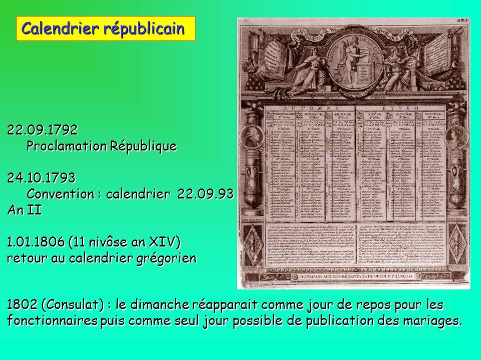 Calendrier républicain 22.09.1792 Proclamation République Proclamation République24.10.1793 Convention : calendrier 22.09.93 An II Convention : calend