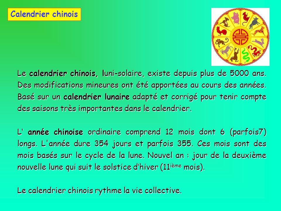 Calendrier chinois Le calendrier chinois, luni-solaire, existe depuis plus de 5000 ans. Des modifications mineures ont été apportées au cours des anné