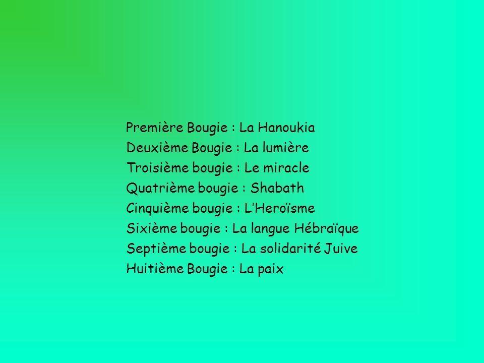 Première Bougie : La Hanoukia Deuxième Bougie : La lumière Troisième bougie : Le miracle Quatrième bougie : Shabath Cinquième bougie : LHeroïsme Sixiè