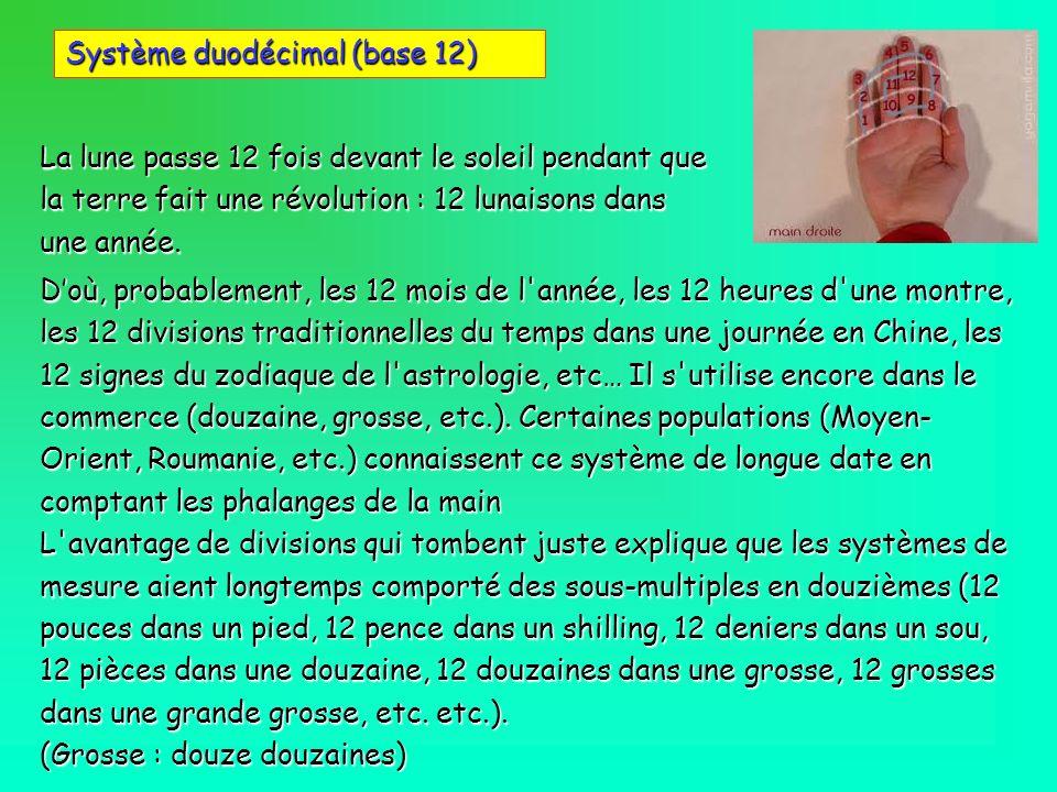Système duodécimal (base 12) Doù, probablement, les 12 mois de l'année, les 12 heures d'une montre, les 12 divisions traditionnelles du temps dans une