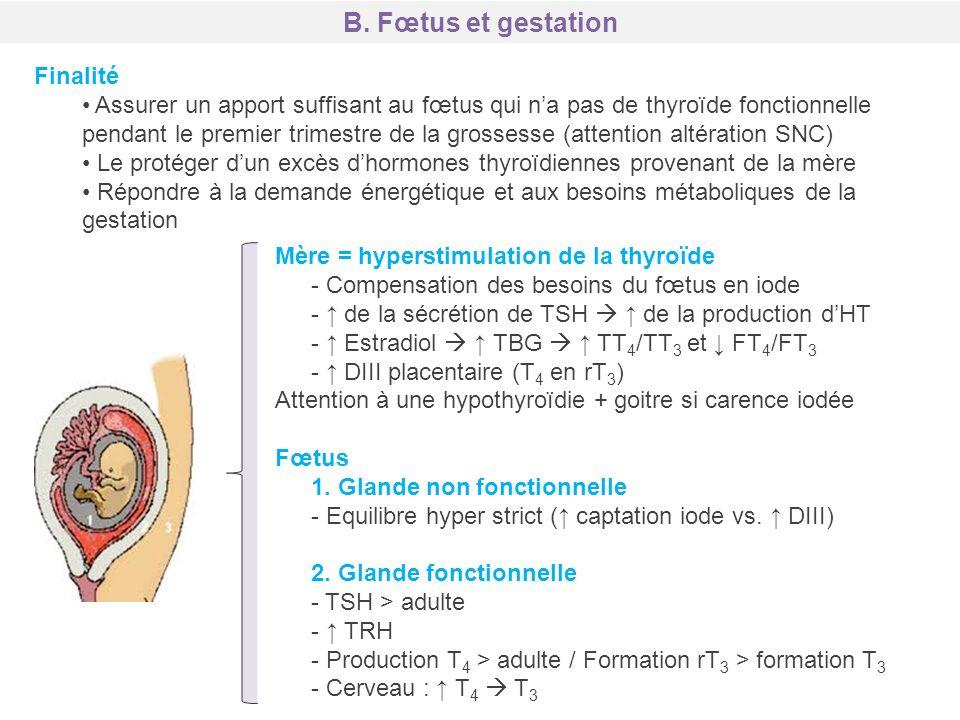 Finalité Assurer un apport suffisant au fœtus qui na pas de thyroïde fonctionnelle pendant le premier trimestre de la grossesse (attention altération