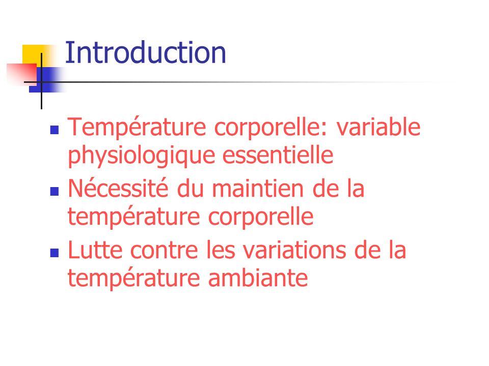 Introduction Température corporelle: variable physiologique essentielle Nécessité du maintien de la température corporelle Lutte contre les variations