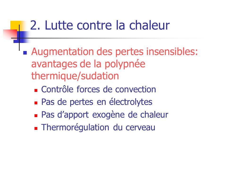 2. Lutte contre la chaleur Augmentation des pertes insensibles: avantages de la polypnée thermique/sudation Contrôle forces de convection Pas de perte