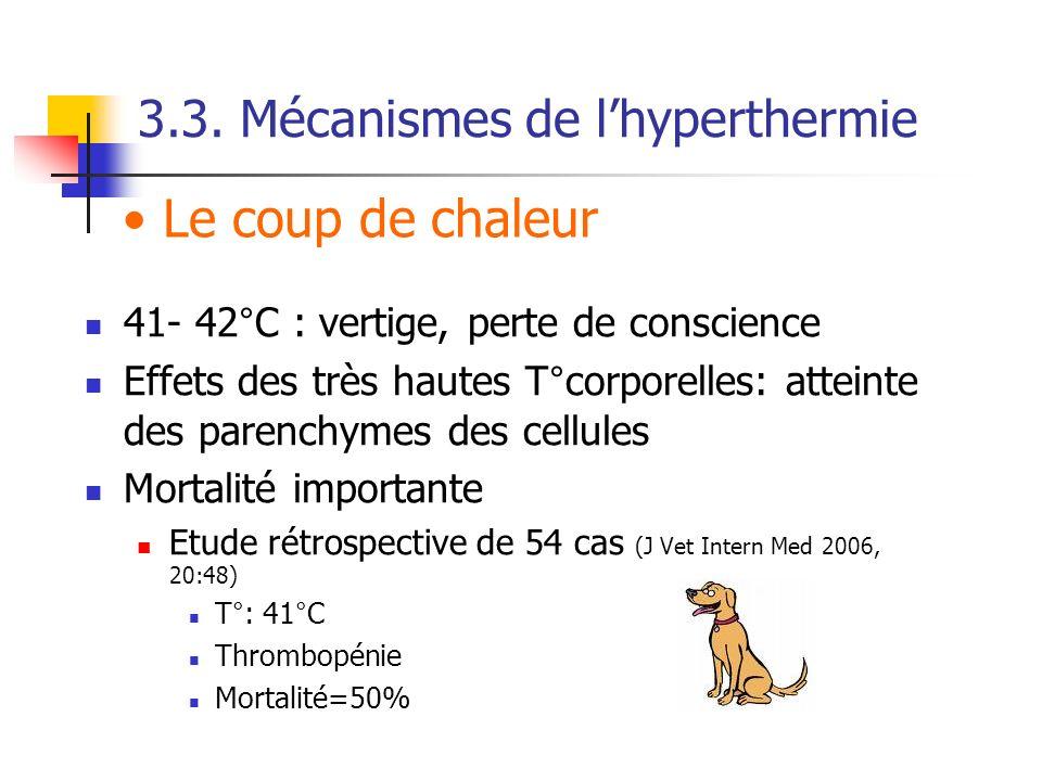3.3. Mécanismes de lhyperthermie 41- 42°C : vertige, perte de conscience Effets des très hautes T°corporelles: atteinte des parenchymes des cellules M