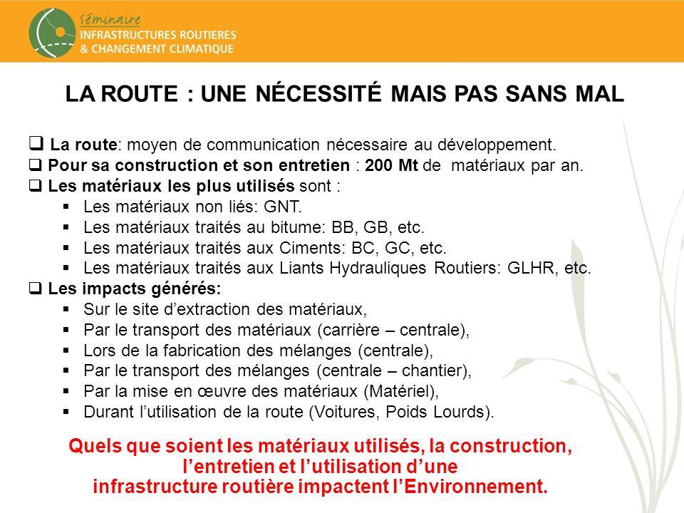 LA ROUTE : UNE NÉCESSITÉ MAIS PAS SANS MAL La route: moyen de communication nécessaire au développement. Pour sa construction et son entretien : 200 M