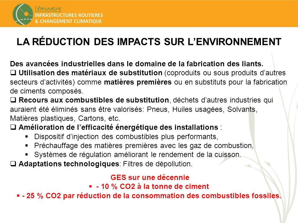 LA RÉDUCTION DES IMPACTS SUR LENVIRONNEMENT Des avancées industrielles dans le domaine de la fabrication des liants. Utilisation des matériaux de subs