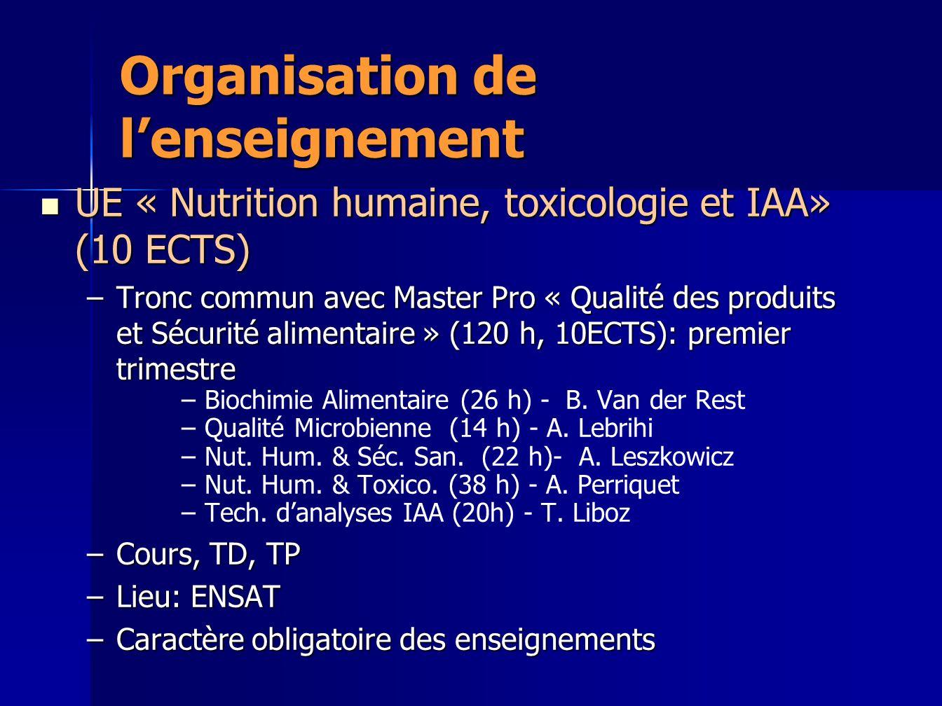 Organisation de lenseignement UE « Nutrition humaine, toxicologie et IAA» (10 ECTS) UE « Nutrition humaine, toxicologie et IAA» (10 ECTS) –Tronc commu