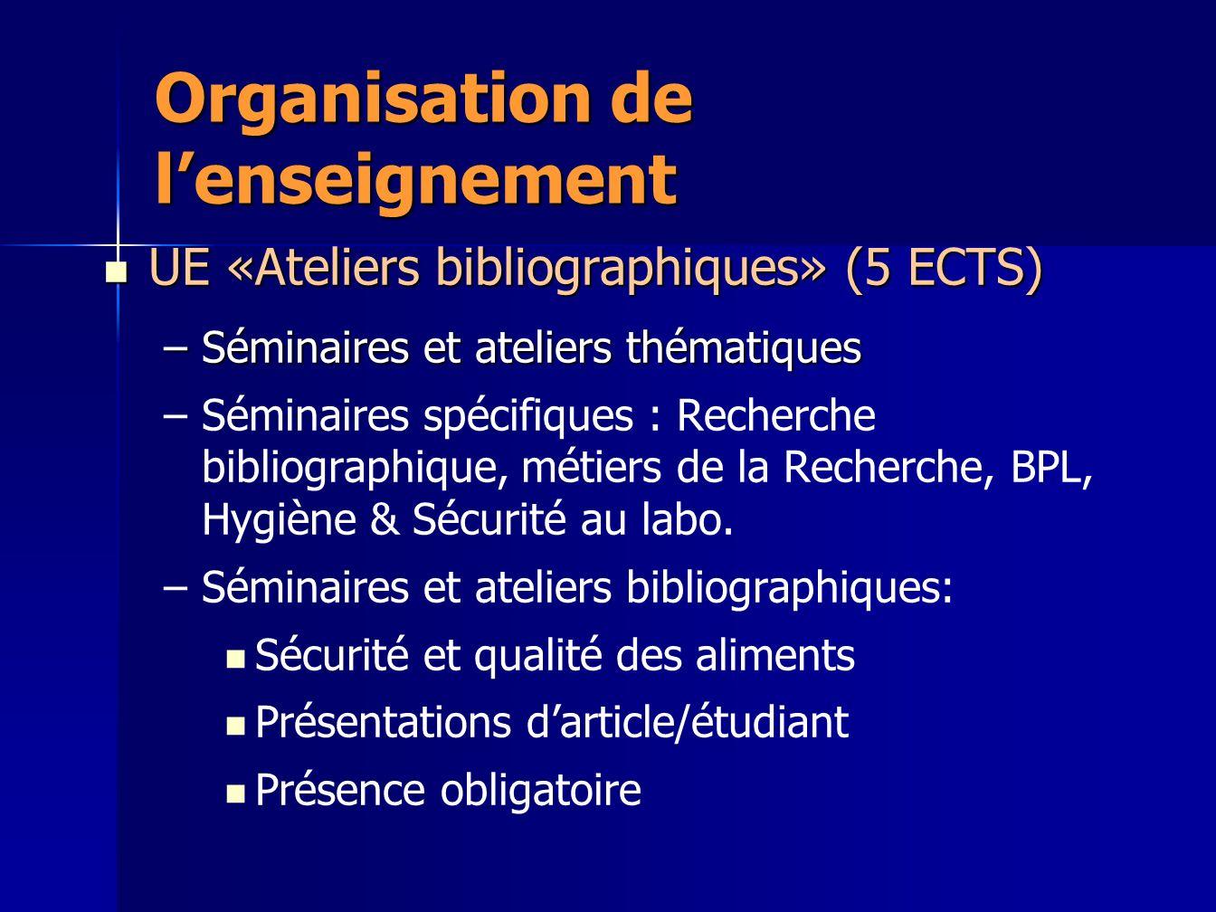 Organisation de lenseignement UE «Ateliers bibliographiques» (5 ECTS) UE «Ateliers bibliographiques» (5 ECTS) –Séminaires et ateliers thématiques – –S