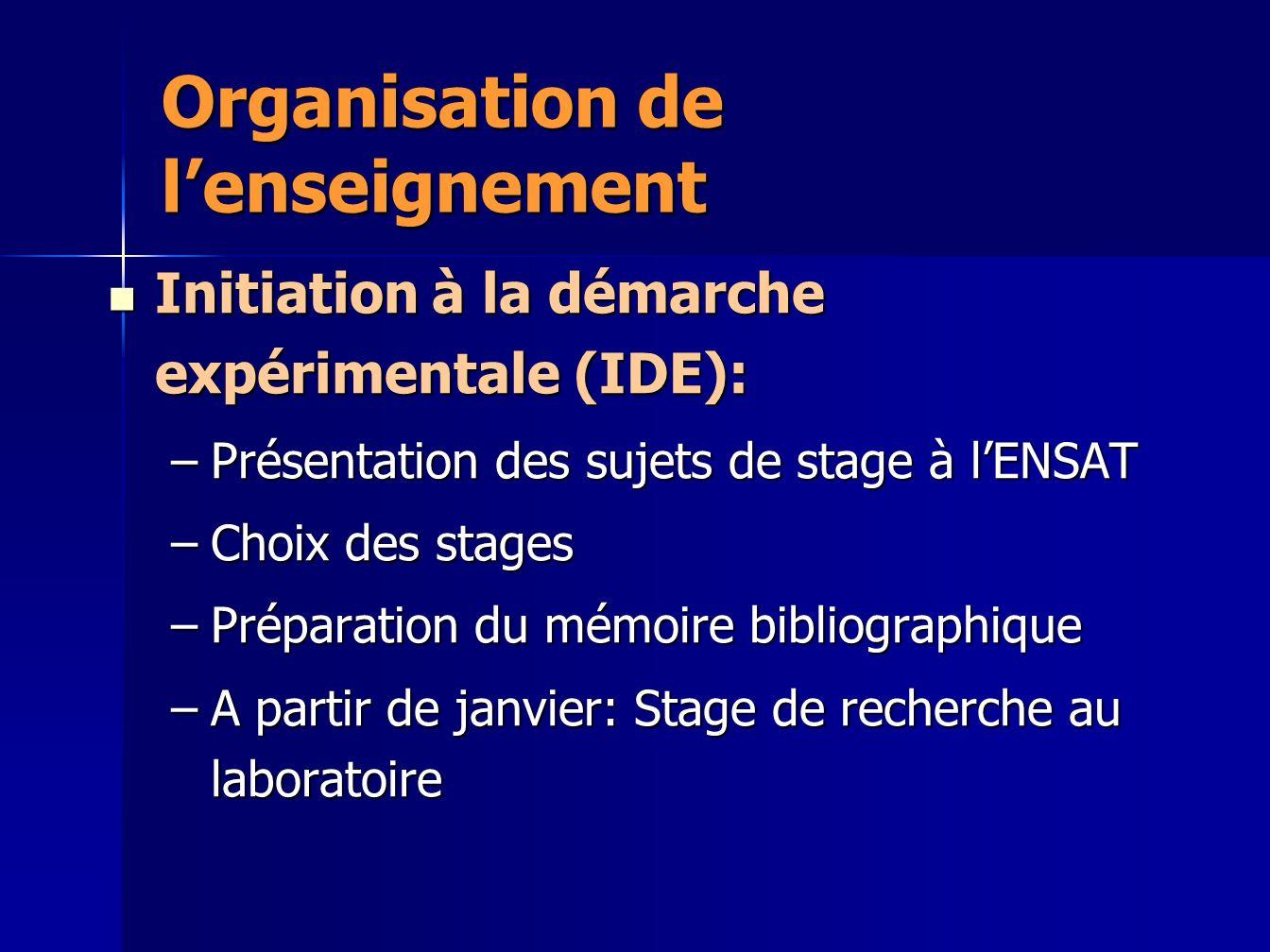 Organisation de lenseignement Initiation à la démarche expérimentale (IDE): Initiation à la démarche expérimentale (IDE): –Présentation des sujets de