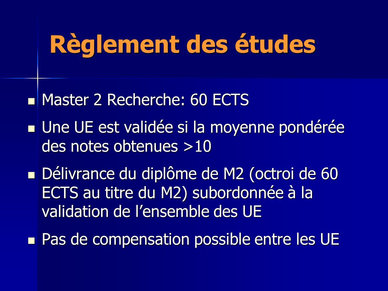 Règlement des études Master 2 Recherche: 60 ECTS Master 2 Recherche: 60 ECTS Une UE est validée si la moyenne pondérée des notes obtenues >10 Une UE e