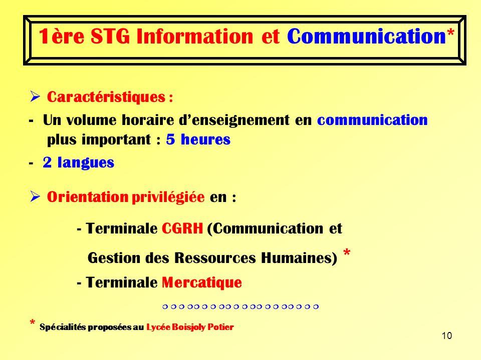 9 Première STG Information et Communication Information et Gestion 2 spécialités