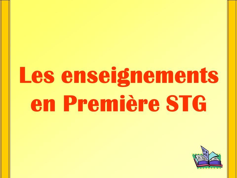 11 1ère STG Information et Gestion * Caractéristiques : - Un volume horaire denseignement en Gestion plus important : 5 heures - 2 langues Orientation