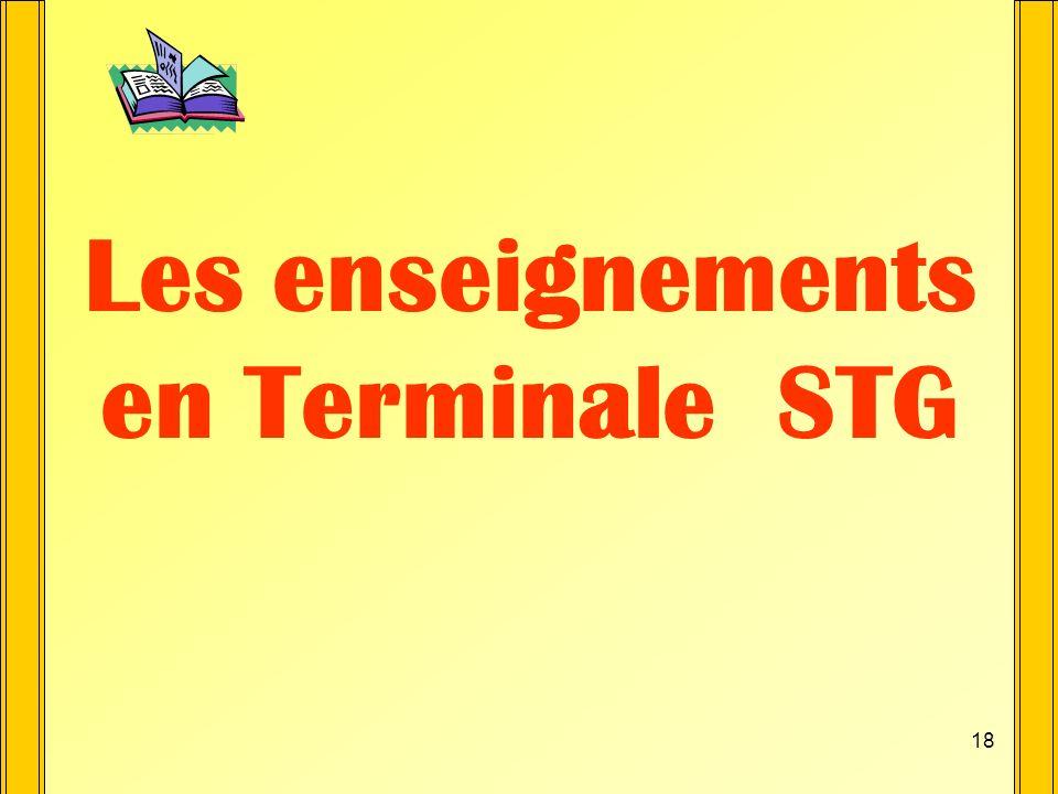 17 Terminale STG 4 spécialités Comptabilité et Finance dEntreprise (CFE) * Comptabilité et Gestion des Ressources Humaines (CGRH) * Gestion des Systèm