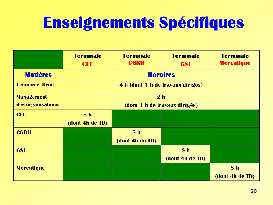 19 Enseignement Général Terminale CFE Terminale CGRHTerminale GSI Terminale Mercatique MatièresHoraires Philosophie2 h (dont 1 h de travaux dirigés) L