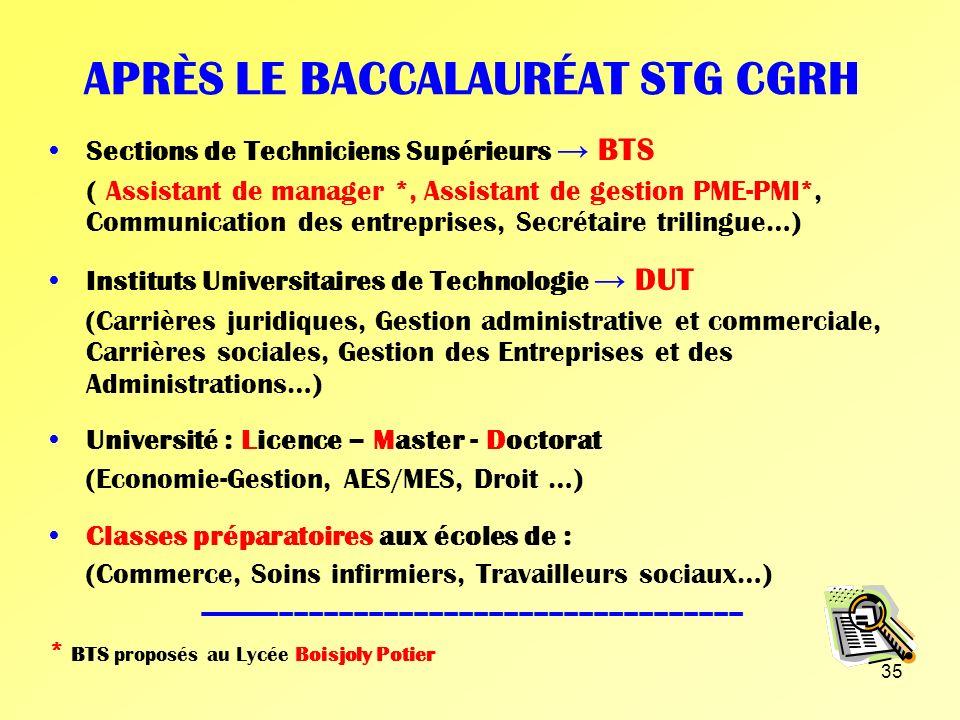 34 APRÈS LE BACCALAURÉAT STG CFE Sections de Techniciens Supérieurs BTS (Comptabilité et Gestion des Organisations, Assistant de Gestion PME-PMI *, As