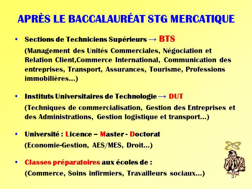 36 APRÈS LE BACCALAURÉAT STG GSI Sections de Techniciens Supérieurs BTS (Informatique de Gestion, Comptabilité et Gestion des Organisations…) Institut