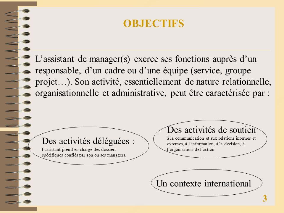 OBJECTIFS Lassistant de manager(s) exerce ses fonctions auprès dun responsable, dun cadre ou dune équipe (service, groupe projet…).