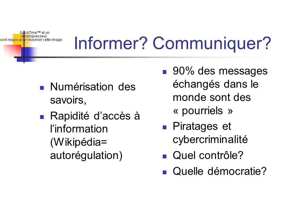 Informer? Communiquer? Numérisation des savoirs, Rapidité daccès à linformation (Wikipédia= autorégulation) 90% des messages échangés dans le monde so