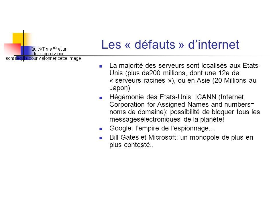 Les « défauts » dinternet La majorité des serveurs sont localisés aux Etats- Unis (plus de200 millions, dont une 12e de « serveurs-racines »), ou en A