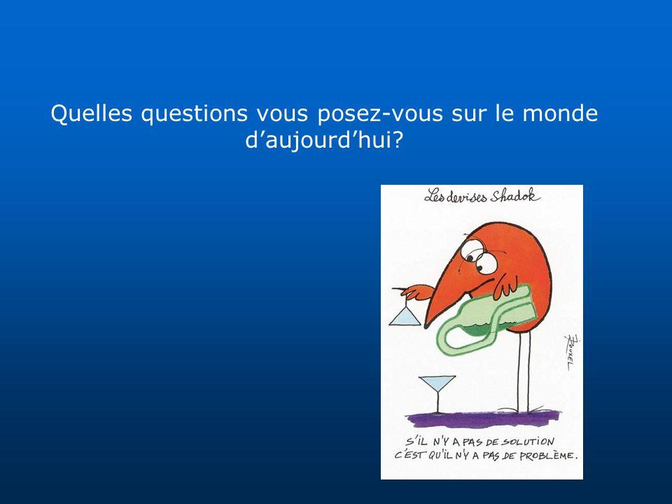 Quelles questions vous posez-vous sur le monde daujourdhui?