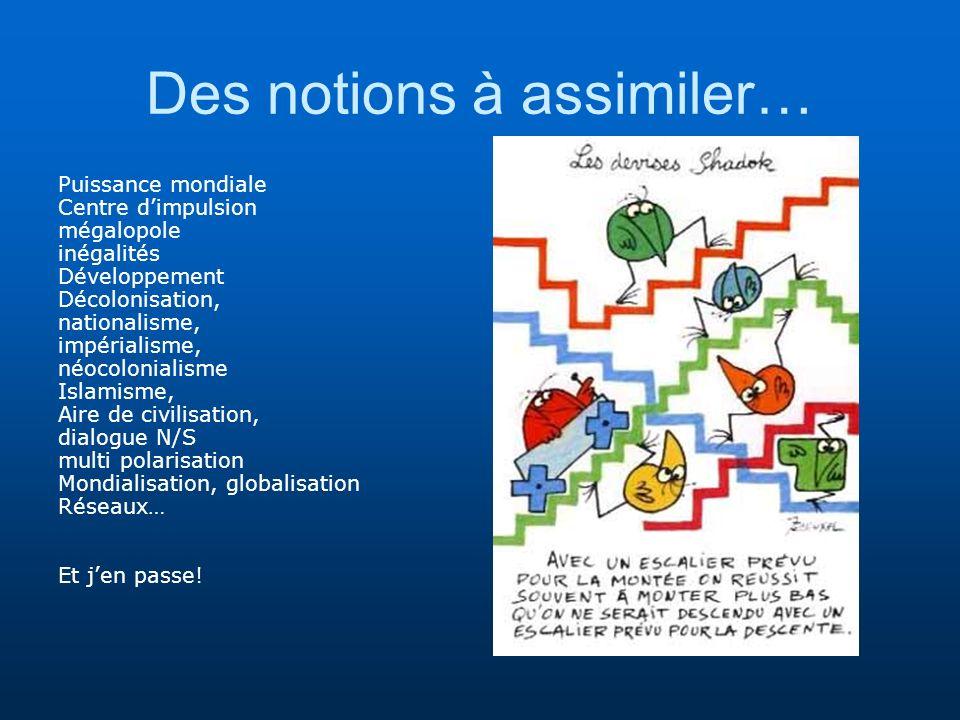 Des notions à assimiler… Puissance mondiale Centre dimpulsion mégalopole inégalités Développement Décolonisation, nationalisme, impérialisme, néocolon