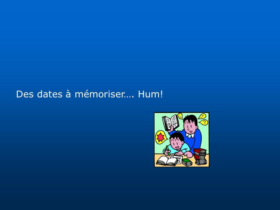 Des dates à mémoriser…. Hum!